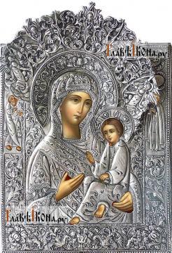 Тихвинская Божия Матерь, икона с серебряном окладе на доске