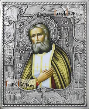 Серафим Саровский, икона с серебряном окладе на доске