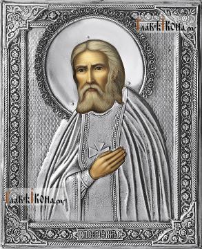 Серафим Саровский, икона в полном серебряном окладе на доске