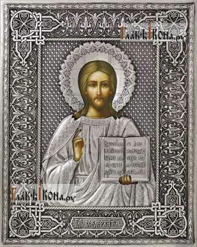 Спаситель поясной, икона в полном серебряном окладе