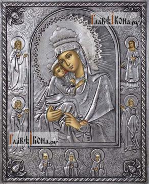 Почаевская Божия Матерь, икона в серебряном окладе на доске
