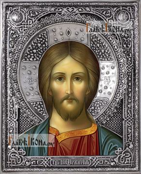 Спаситель (оплечный), икона в серебряном окладе на доске