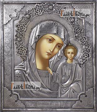 Казанская Божия Матерь (с венцом), икона в окладе из серебра на доске