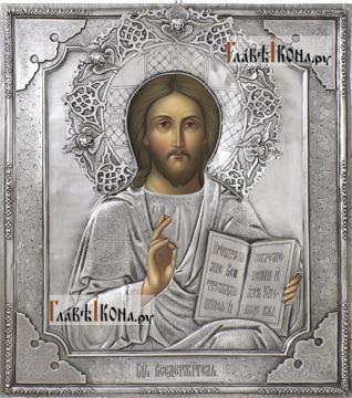Спаситель (с венцом), икона в окладе из серебра на доске