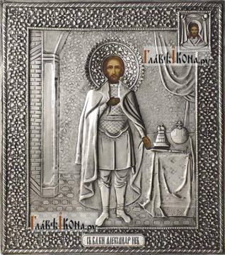 Александр Невский, икона в серебряном окладе на доске