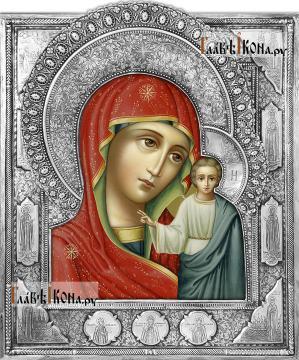Казанская Божия Матерь с клеймами с предстоящими (на окладе)