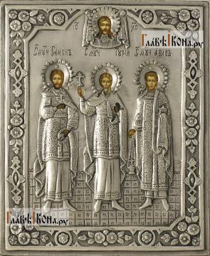 Гурий, Самон и Авив, икона в серебряном окладе на доске