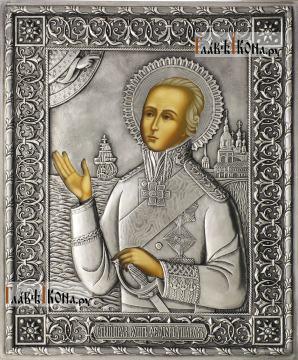 Феодор Ушаков, икона в серебряном окладе на доске