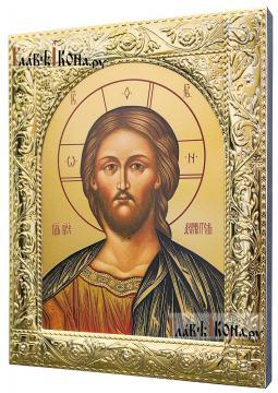 Господь, икона в посеребренной ризе, артикул 41878 - вид сбоку