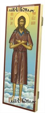 Алексий, человек Божий (на облаках), мерная икона - вид сбоку