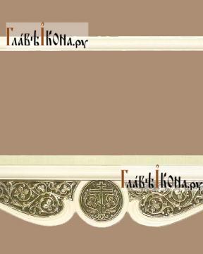 Белая полка для икон двухъярусная прямая с басмой - детали центра