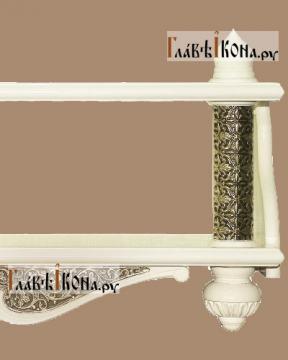 Белая полка для икон двухъярусная прямая с басмой - детали бока
