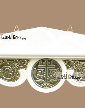 Полочка для икон одноярусная угловая белая - вид басмы