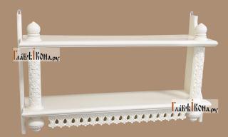 Двухъярусная белая прямая полка, высокая - вид сбоку