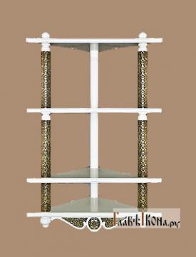 Домашний угловой четырехъярусный иконостас белый