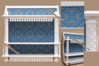 Белая трехъярусная полка с синей парчой - детали