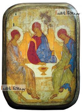 Пресвятая Троица, икона под старину на дереве