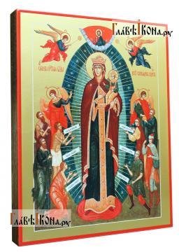икона Всех скорбящих Радость (Харбинская) печатная на доске - вид сбоку