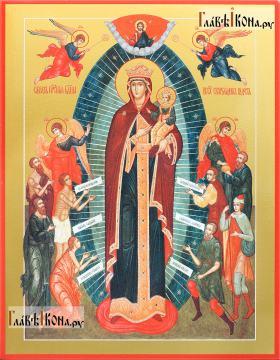 икона Всех скорбящих Радость (Харбинская) печатная на доске