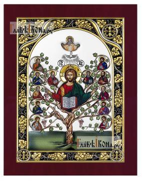 Спас Древо жизни, икона в серебре с эмалью, Италия
