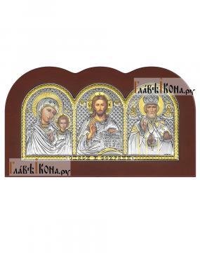 Триптих с посеребренными иконами, производство Италия
