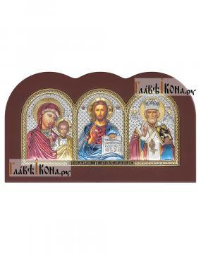 Триптих с посеребренными иконами с эмалью, производство Италия