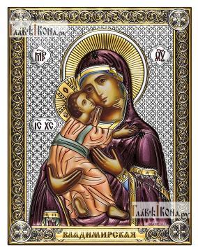 Владимирская Божия Матерь икона 14х18 см с эмалью