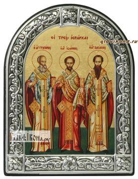 Святители Григорий, Иоанн и Василий икона в рамке