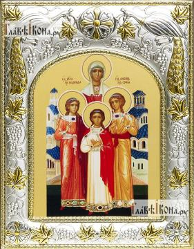 Вера, Надежда, Любовь, София, икона в ризе артикул 41917