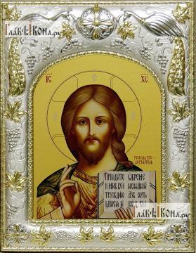 Господь Вседержитель (с Библией), икона в ризе, артикул 42808