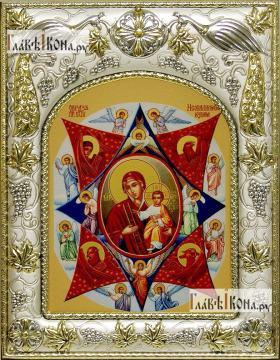 Неопалимая Купина Божия Матерь, икона в ризе, артикул 42819