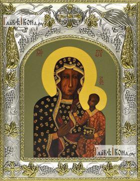Ченстоховская Божья Матерь, икона в ризе, артикул 42834