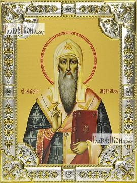 Алексий, митрополит Московский, икона в посеребренной ризе, 18х24 см.
