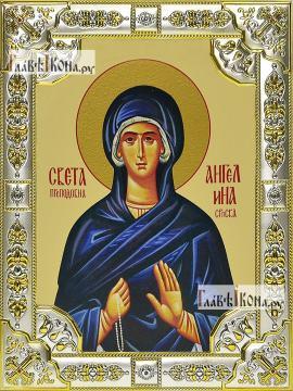 Ангелина Сербская, икона в посеребренной ризе, 18х24 см