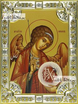 Михаил архангел, икона в посеребренной ризе, 18х24 см