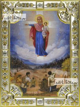 Августовская Божия Матерь, икона в посеребренной ризе, 18х24 см