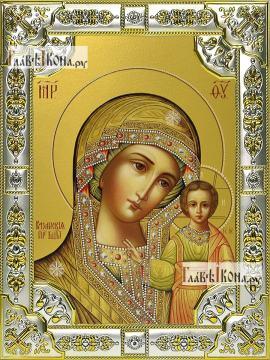 Казанская (ярославский стиль), икона в посеребренной ризе, 18х24 см