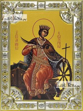 Екатерина великомученица, икона в посеребренной ризе 18х24