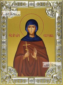 Евгения Римская, икона в посеребренной ризе 18х24 см