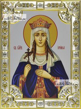 Ирина Македонская, икона в посеребренной ризе, 18х24 см.