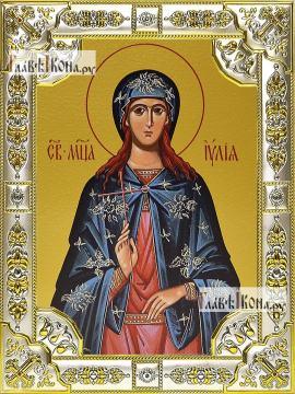 Иулия (Юлия) Карфагенская, икона в посеребренной ризе, 18х24 см.