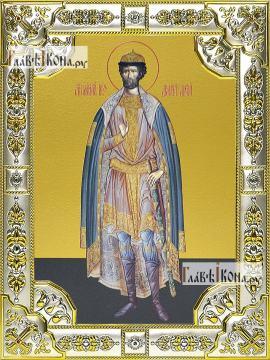 Димитрий Донской (ростовой), икона в посеребренной ризе, 18х24 см.