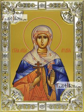 Лидия Иллирийская, икона в посеребренной ризе, 18х24 см.