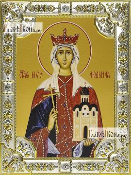 Людмила Чешская, икона в посеребренной ризе, 18х24 см.
