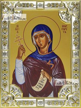 Маргарита Антиохийская, икона в посеребренной ризе, 18х24 см.