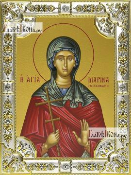 Марина Антиохийская, икона в посеребренной ризе, 18х24 см.
