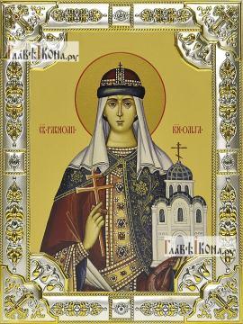 Ольга равноапостольная, икона в посеребренной ризе, 18х24 см.