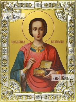 Целитель Пантелеймон (живописный), икона в посеребренной ризе, 18х24 см.