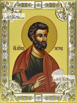 Петр апостол, икона в посеребренной ризе, 18х24 см.