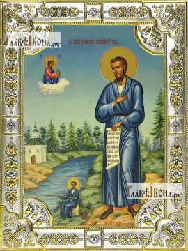 Симеон Верхотурский, икона в посеребренной ризе, 18х24 см.